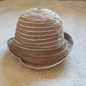 J. Crew hat beige white stripe made in Italy